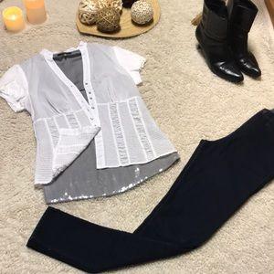 2 designer dress shirts:Elie Tahari silk top,small
